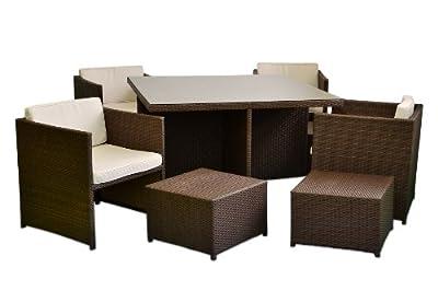 Poly Rattan Sitzgruppe 18tlg. Gartenmöbel Set Garnitur Lounge braun