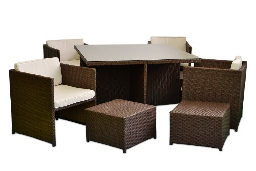 Nexos Poly Rattan Sitzgruppe 18tlg. Gartenmöbel Set Garnitur Lounge braun