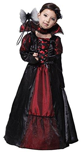 DEMU Mädchen Vampir Prinzessin Kostüm Dracula für Halloween Cosplay (Kostüme Vampirin Klassische)