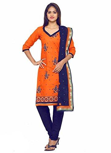 Flouncess women's Cotton unstitched salwar suit with dupatta Orange