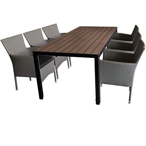 7tlg. Gartengarnitur Sitzgruppe Terrassenmöbel Gartenmöbel Set Sitzgarnitur - Gartentisch, 205x90cm, Polywood-Tischplatte + 6x Polyrattan Gartensessel, stapelbar, grau-meliert, inkl. Sitzkissen