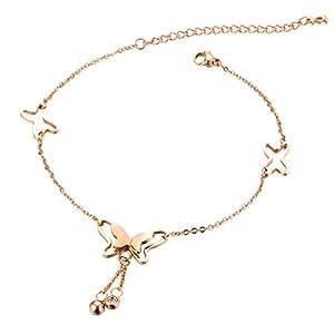 OPK–donne fascino oro rosa catena a maglia carino a forma di farfalla cavigliera, lunghezza regolabile