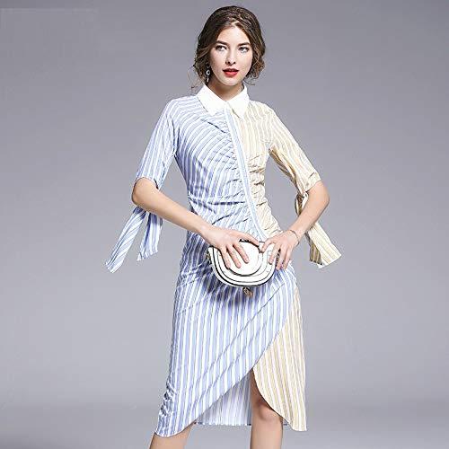 Kontrast Kragen Kleid Shirt (QUNLIANYI Kleid Spitze Runway Shirt Kleid Damen Langarm Kontrast Fliege Kragen Blumendruck Gestreiftes Vintage Midi Kleid XXL)