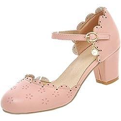 YE Damen Chunky Heels Knöchelriemchen Geschlossene Pumps mit Blockabsatz und Schnalle Bequem Schuhe