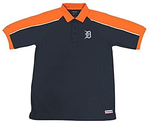 MLB Detroit Tigers Color Blocked Polo with Lined Mini Mesh Panels, Navy, Medium
