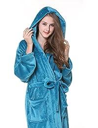 WHS Vestido de Franela de otoño e Invierno Hombre Ropa de Dormir con Capucha Pareja Albornoz de Gran tamaño Pijama de Terciopelo de Lady…