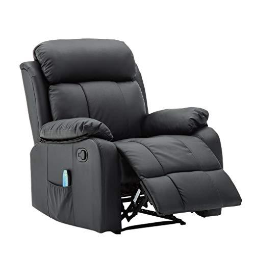 SWEEPID SX-80064 Massagesessel Fernsehsessel Relaxsessel TV Sessel Wärmefunktion mit Fernbedienung Liegefunktion Schwarz -