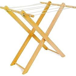 small foot 7252 Support à linge en bois pour vêtements de poupées, avec six cordes à linge, pliable, à partir de 3 ans
