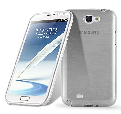 Cadorabo Hülle für Samsung Galaxy Note 2 - Hülle in Silber – Handyhülle aus TPU Silikon in gebürsteter Edelstahloptik (Brushed) Silikonhülle Schutzhülle Soft Back Cover Case Bumper