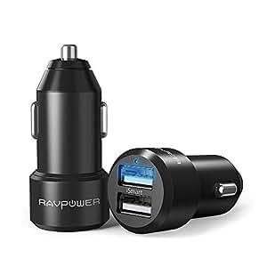 RAVPower Chargeur Voiture Lot de 2 Mini Chargeur Allume Cigare 2 Ports USB 24W / 5V 4,8A iSmart en Alliage d'Aluminium Compatible avec iPhone XS/XS Max/XR / 8 / X / 7, Galaxy S7 / S6 / Edge -Noir