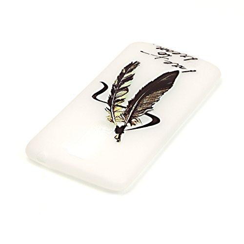 iPhone 6/6S 4.7 Inch Luminous Hülle (Mit Frie HD Displayschutzfolie) Leuchtende Silikone Rückhülle Für iPhone 6/6S 4.7'' Silikon Gel Etui Handy Hülle Weiche Transparente Luminous TPU Back Case Tasche  Goldfeder