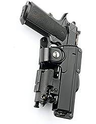"""Fobus nouveau report dissimulé rétention réglable pistolet étui avec sangle de sécurité pour plus Colt 1911 pistolets de style, 5 / Springfield 5"""" 1911 .45cal avec des rails / 5 inch Kimber 1911 pistolets .45 cal avec des rails / Browning Hi-Power 5in polymère noir"""