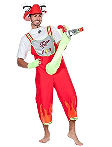 Wilbers Mens EU 48/ UK and US 38 Fire Fighter Comic with Hose Costume