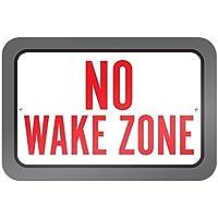 bienternary Placa Decorativa de Aluminio con Texto en inglésNo Wake Zone 9 x 6 - Placa Decorativa de Metal para Señales de Carretera Vintage
