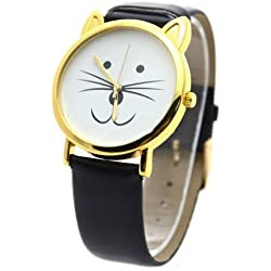 *UK* CUTE CAT FACE WRIST WATCH with GOLD-TONE EARS and BLACK WATCH STRAP! KITTEN KITTY
