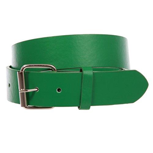 beltiscool '11/2(38mm) fijación a presión Plain Jean cinturón de piel con hebilla - Verde - X-Large- 107 cm~112 cm