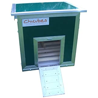 Chicubes Plastic Chicken House for 3 Hens with Slide Out Cleaning Draw, Green 11