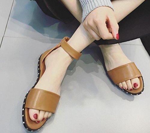 OL Casual Toe Caviglia aperto cinghie piatto fibbia rivetto decorazione antiscivolo donne meravigliose Sandali UE formato 35–39 Marrone scuro
