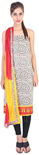 Tulsi Creation Women's Cotton jute Unstitched Dress Material (Light Cream and Red)