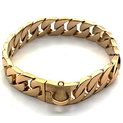 Würgehalsbänder Klassische Halsbänder Cast Kette Golden Dog Collar Große Hundehalsband Edelstahl Dog Chain Gold 22 Zoll, 22 Zoll (22-zoll-gold-chain -)
