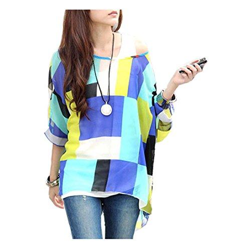 Mangotree Bohemian Boho Hippie Damen Chiffon Schulterfrei Batwing Bluse Shirt Top (L, Block) (Batwing Ärmel Chiffon-bluse)