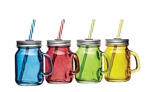 Bar Craft 115ml Vintage Style Mini-Einmachgläser Glas Getränke, Mehrfarbig, 4Stück.