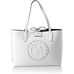 Guess - Bobbi, Bolsos totes Mujer, Multicolor (White/Taupe/Wit), 42.5x27x12.5 cm (W x H L)