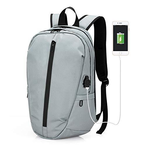 FPTB Business-Computer-Rucksack, Schulrucksack groß, USB-Ladeanschluss Reisetasche Wasserdicht Für 14-Zoll-Laptop-Oxford-Stoff,Lightblue