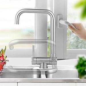 Cocina de acero inoxidable 304 agua caliente y fría grifo de la ventana interior fregadero del fregadero plegable del fregadero del fregadero del fregadero corto