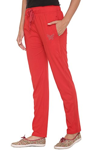 Cupid Women track pants( M TO 5XL SIZES) - Cupid Plain Red Cotton Sports Gym Workout yoga Lowers for Women And Girls - Night Wear Regular fit ladies relax fit pyjamas-Red Color (MEDIUM)  available at amazon for Rs.350