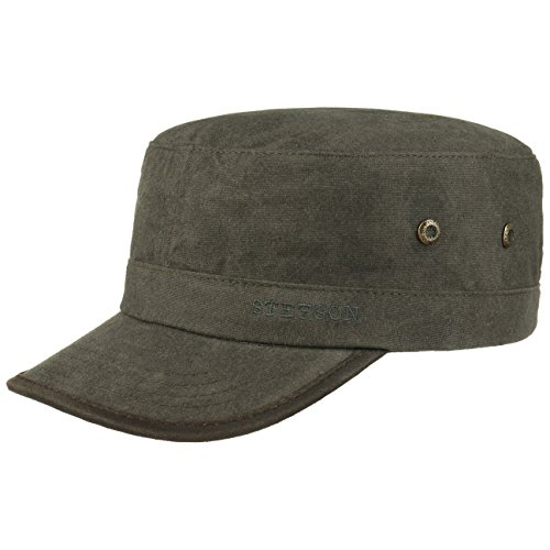 Stetson Katonah Plain Army Cap Sommercap Armycap Kappe Military-Cap (L (58-59 cm) - Dunkelgrau)