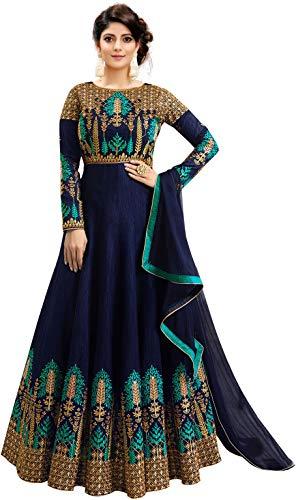 Fast Fashions Women's Embroidered Phantom Slik Semi Stitched Anarkali Gown (Green_Free Size)