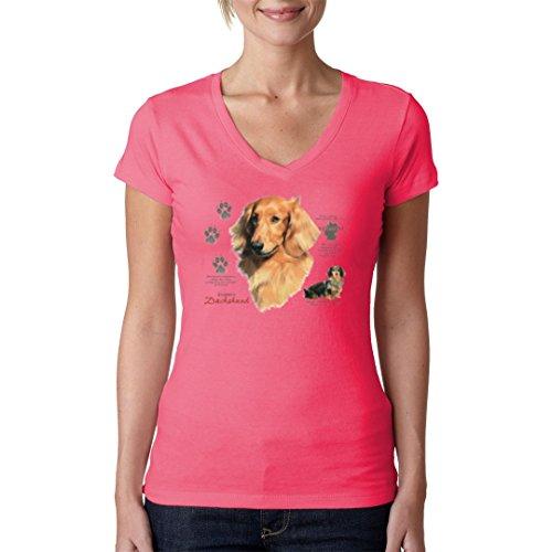 Im-Shirt - Hunde Motiv: Langhaardackel Dachshund cooles Fun Girlie Shirt - verschiedene Farben Light-Pink