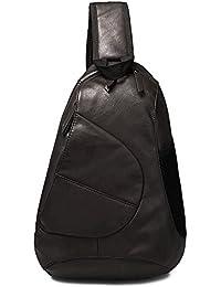 FreeMaster Mochila bandolera para hombre, estilo vintage, piel sintética, se puede llevar sobre el pecho, ideal para hacer senderismo, pequeño tamaño, moderna, negro