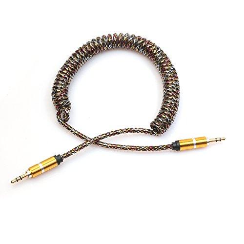 Tonsee 2M 3,5 MM Aux Audiokabel Stecker auf Stecker flach Teleskop Feder Kabel (gold)