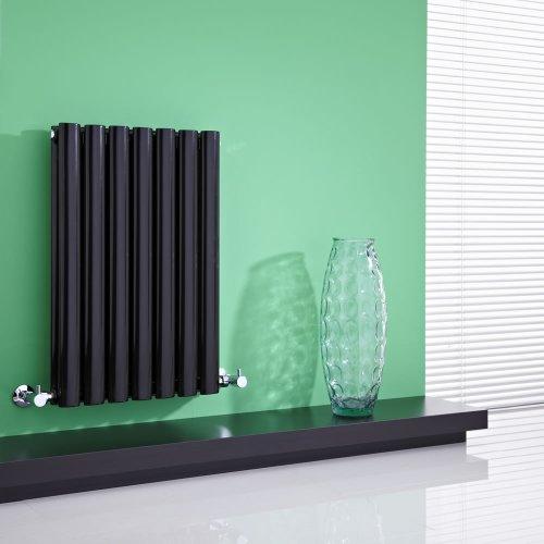 Hudson Reed - Radiateur Chauffage Central Horizontal Design - Acier Noir Brillant - 64 x 42cm - Double Rang