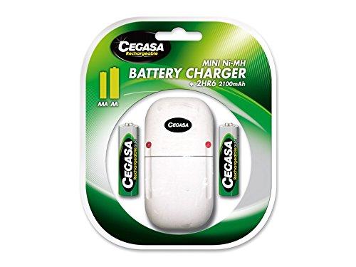 Cegasa HR06 – Chargeur Mini 2100 mAh + 2 Piles, Couleur Vert