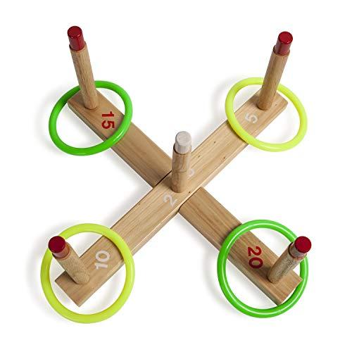 Champion Sports Ring Toss Spiel (enthält Basis aus Holz, 5Holz Heringe, 4Seil Ringe), QS1, klassisch, (Champion Sport Seil)