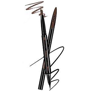 Lápiz de cejas marrón impermeable y combo de delineador de ojos negro, herramienta de maquillaje de maquillaje retráctil…