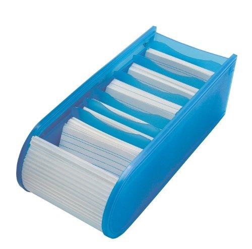 WEDO Fichier educatif A8 a l'italienne, 100 fiches, bleu, en PP, avec fermeture rideau (blanc translucide), fiches lignees, peut contenir jusqu'a 500 fiches, 6 plaques de separation amovibles incl., dimensions: (L)92 x (P)217 x (H)73 mm (250 8003)