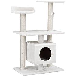 [en.casa] Rascador Para Gatos Árbol Para Gatos Trepar Sisal Juguetes - 60x40x95cm - blanco