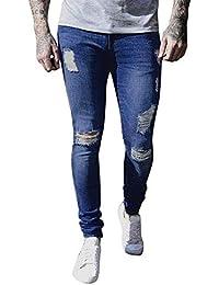 Los Hombres Elásticos Rasgados Biker Taped Jeans RT Skinny Slim Fit  Pantalones Retro Pantalones De Mezclilla aa1f6610d36