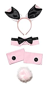 Black & Pink Bunny Girl Set Kit Play Boy Fancy Dress Costume Vicars & Tarts (accesorio de disfraz)