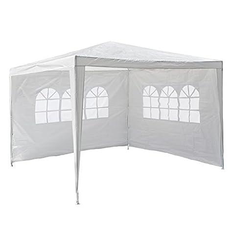 Nexos GM36090 PE-Pavillon Partyzelt mit 2 Seitenteilen für Garten Terrasse