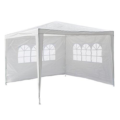 Nexos GM36090 PE-Pavillon Partyzelt mit 2 Seitenteilen für Garten Terrasse Markt Camping Festival als Unterstand und Plane, wasserdicht 3 x 3 m weiß