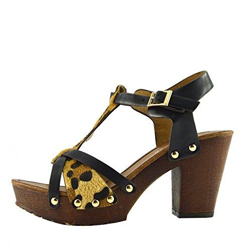 Kick Footwear - Donna Tacco A Blocco Tagliare Aprire Estiva Bianco Sandali - UK6 / EU39, Nero F10561
