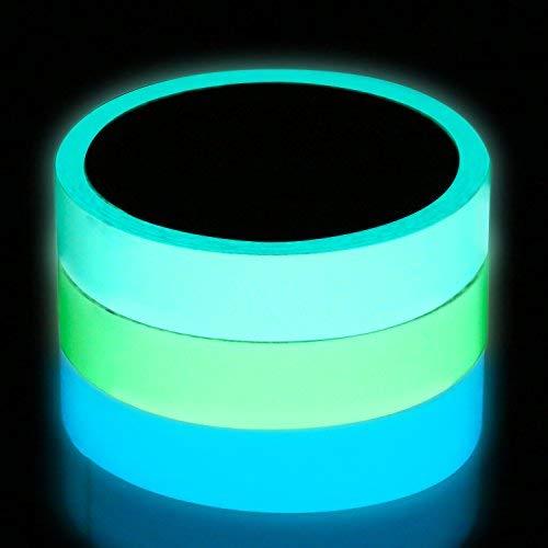 (Lvcky 3Rollen Glow Tape in The Dark, Leuchtziffern Glow Abnehmbarer Wasserdicht Tape 49,2Fuß x 2cm/15m x 2cm völlig für Wände, Stufen, EXIT Schild)