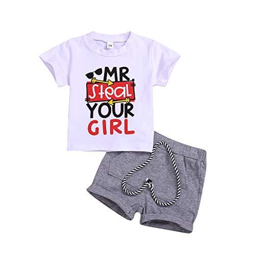 Baby Set Maedchen Sommer Kleinkind Kurzarm Brief drucken Tops + Solid Short Outfit