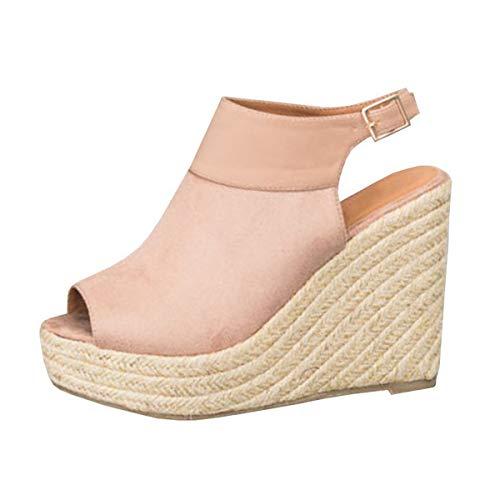 Minetom sandali donna moda sandali espadrillas con cinturino alla caviglia zeppe donna corda intrecciato piattaforma eleganti estivi sandali b rosa eu 38