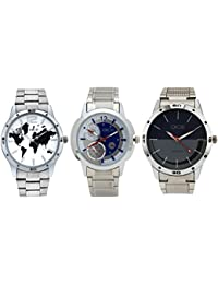 "Dice""DICE-0026"" Formal Round Shaped Wrist Watches for Men. Fitted with Multi Color Dial, Stainless Steel Case Chain and Leather Strap, Combo Pack of 3"